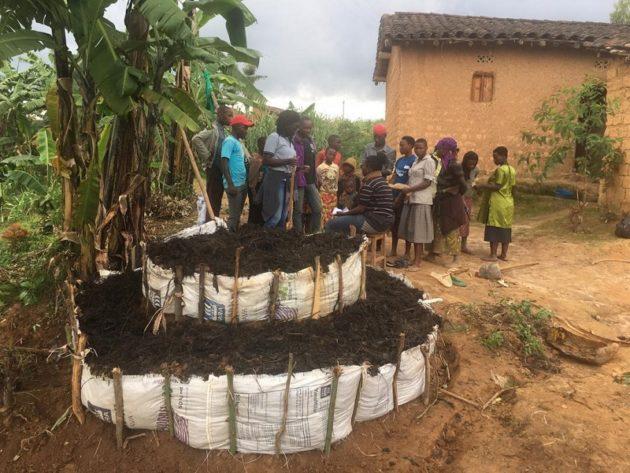 Kinderfamilien in Ruanda erlernen landwirtschaftliche Anbaupraktiken